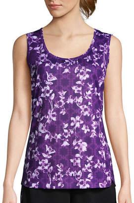 ST. JOHN'S BAY SJB ACTIVE Active Short Sleeve Floral T-Shirt-Womens