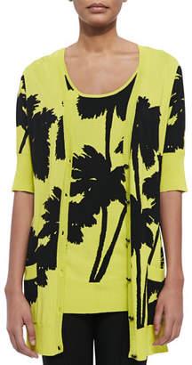 Berek Miami-Print Long 1/2-Sleeve Cardigan, Petite