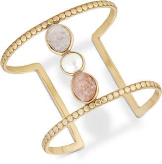 Lucky Brand Druzy Stone & Imitation Pearl Openwork Cuff Bracelet
