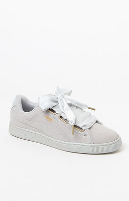 Puma Women's Gray Suede Heart Satin Sneakers $80 thestylecure.com