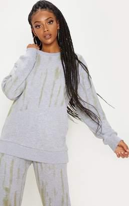 PrettyLittleThing Grey Tie Dye Oversized Sweater
