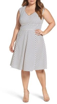 Plus Size Women's Adrianna Papell Stripe Fit & Flare Dress $150 thestylecure.com