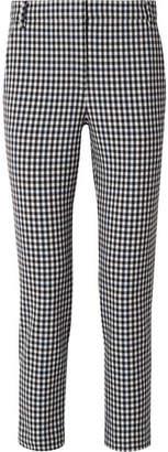 Tibi Gingham Cady Slim-leg Pants - Black