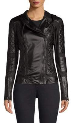 Blanc Noir Voyage Hooded Leather Moto Jacket