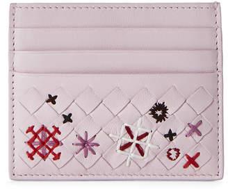 Bottega Veneta Embroidered Intrecciato Leather Card Case