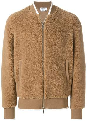 Thom Browne Bomber With Tipping Stripe In Baby Camel Hair Sherpa