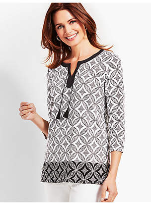 Talbots Medallion Tiles Embroidered Tassel-Tie Tunic