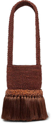 Johanna Ortiz Little Paws Tasseled Embellished Woven Straw Tote - Brick