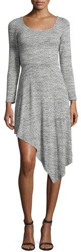 Alice + OliviaAlice + Olivia Geneva Long-Sleeve Asymmetric-Hem Dress, Gray