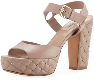 Valentino Quilted Leather Platform Rockstud Sandal