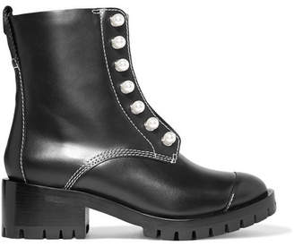 3.1 Phillip Lim Lug Sole Zipper Embellished Leather Ankle Boots - Black