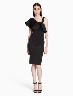 Calvin Klein asymmetric ruffle shoulder sheath dress