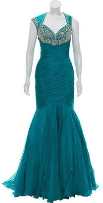 Mac Duggal Embellished Ruffled Gown w/ Tags