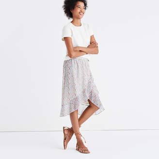 Ruffle-Wrap Midi Skirt in Shadowpetal $98 thestylecure.com