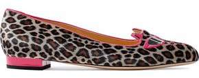 Charlotte Olympia Leather-Trimmed Embroidered Leopard-Print Satin Ballet Flats