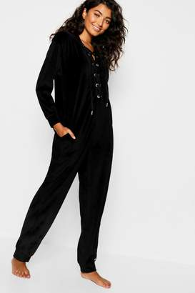boohoo Velour Tie Up Onesie