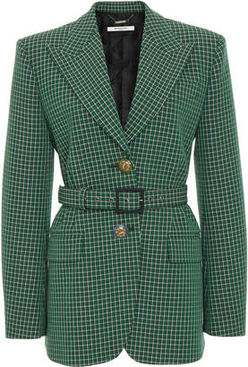 Givenchy Belted Checked Wool-Crepe Blazer Size: 36