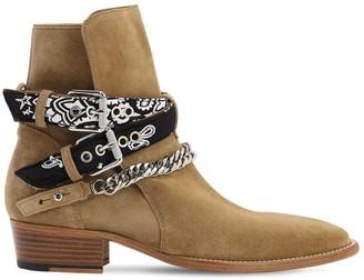 Amiri Bandana Buckle Suede Boots