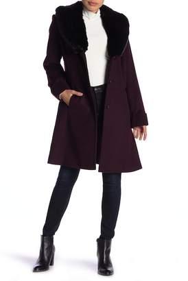 Via Spiga Wool Blend Faux Fur Collar Coat (Petite)