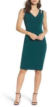 Vince Camuto Cutout Shoulder Crepe Sheath Dress