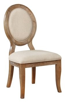 Powell Lenoir Dining Side Chair, Set of 2, Wirebrushed Oak