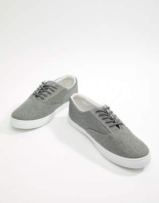 New Look Lace Up Sneakers In Mid Gray
