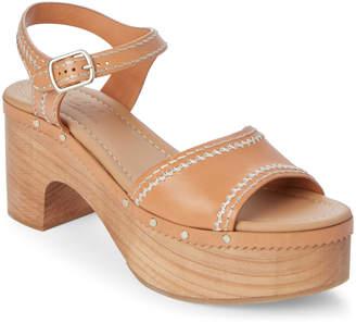 Sandro Camel Audry Wooden Platform Sandals