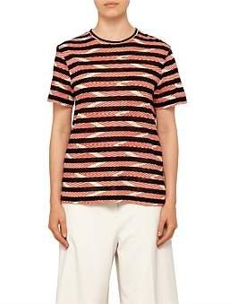 Proenza Schouler Short Sleeve T-Shirt-Printed Stripe Tissue Jersey
