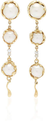 Mahnaz Collection Limited Edition 18K Gold Convertible Day/Night Earrings With Pearls And Diamonds By Charles De Temple C. 1970