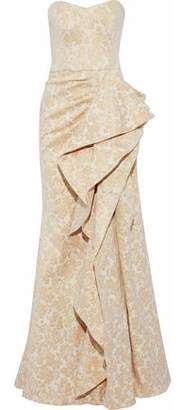 Badgley Mischka Strapless Ruffled Metallic Jacquard Gown