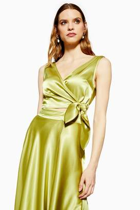 Topshop Satin Sleeveless Tie Wrap Crop Top