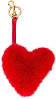 Anya Hindmarch Red Fur heart bag charm