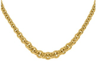 """Italian Gold 18"""" Bold Graduated Cable Link Necklace, 14K"""
