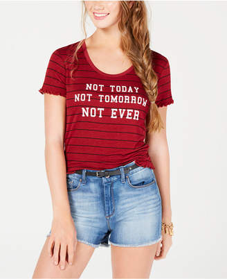 Rebellious One Juniors' Not Today Striped Graphic T-Shirt