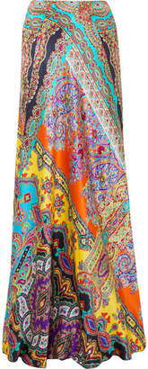 Etro Printed Silk Maxi Skirt - Purple