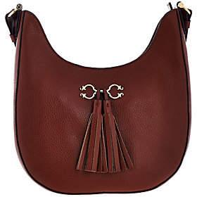 C. WonderC. Wonder Pebble Leather Hobo Handbag with Hardware & Tassel Detail