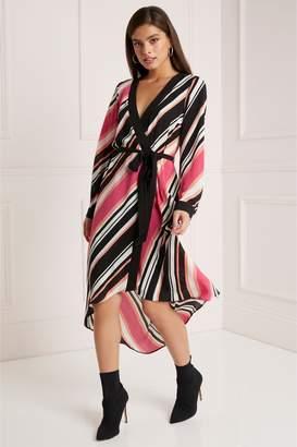 5687af15d776 Next Lipsy Petite Stripe Wrap Dress - 14
