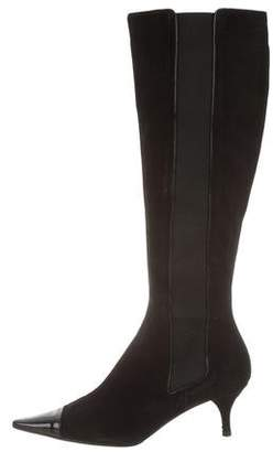 Chanel Pointed Cap-Toe Knee-High Boots