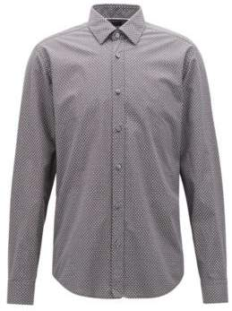 BOSS Hugo Regular-fit shirt in melange cotton exclusive pattern L Open Grey