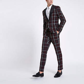 River Island Dark red check skinny suit jacket