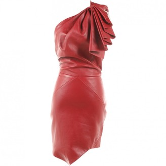 Alexandre Vauthier Red Leather Dresses