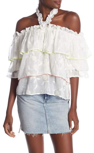 Dance and Marvel Floral Tiered Ruffle Halter Blouse