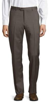 Armani Collezioni Solid Straight-Fit Woolen Pants