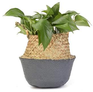 Kadell Seagrass Belly Basket Storage Plant Pot Foldable Nursery Laundry Bag Decor Garden Flower Vase with Waterproof Shell