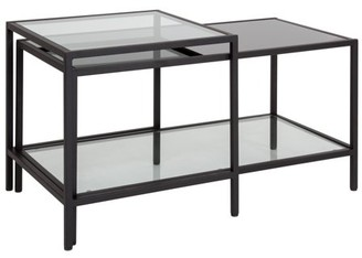Westerly Flash Furniture Multi-Tiered Glass Coffee Table with Black Metal Frame