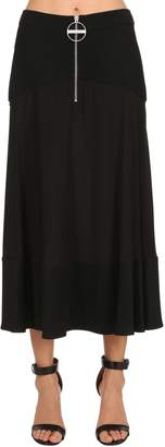 Givenchy Wool Jersey & Silk Crepe Long Skirt