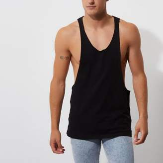 River Island Mens Black dropped armhole relaxed fit tank