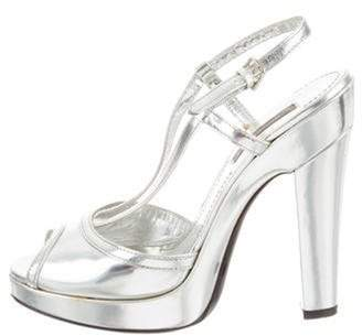 Burberry Metallic Platform Sandals Silver Metallic Platform Sandals