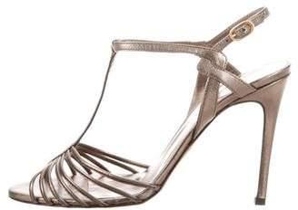 Max Mara Metallic T-Strap Sandals w/ Tags