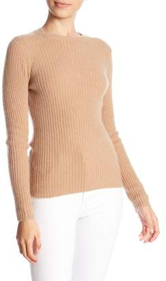 Minnie Rose Long Sleeve Ribbed Cashmere Blend Sweater
